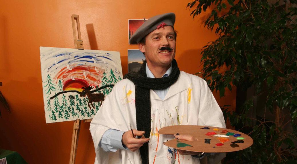 """Roger Keiseraas NSB Assistor maler """"Elg i solnedgang"""""""